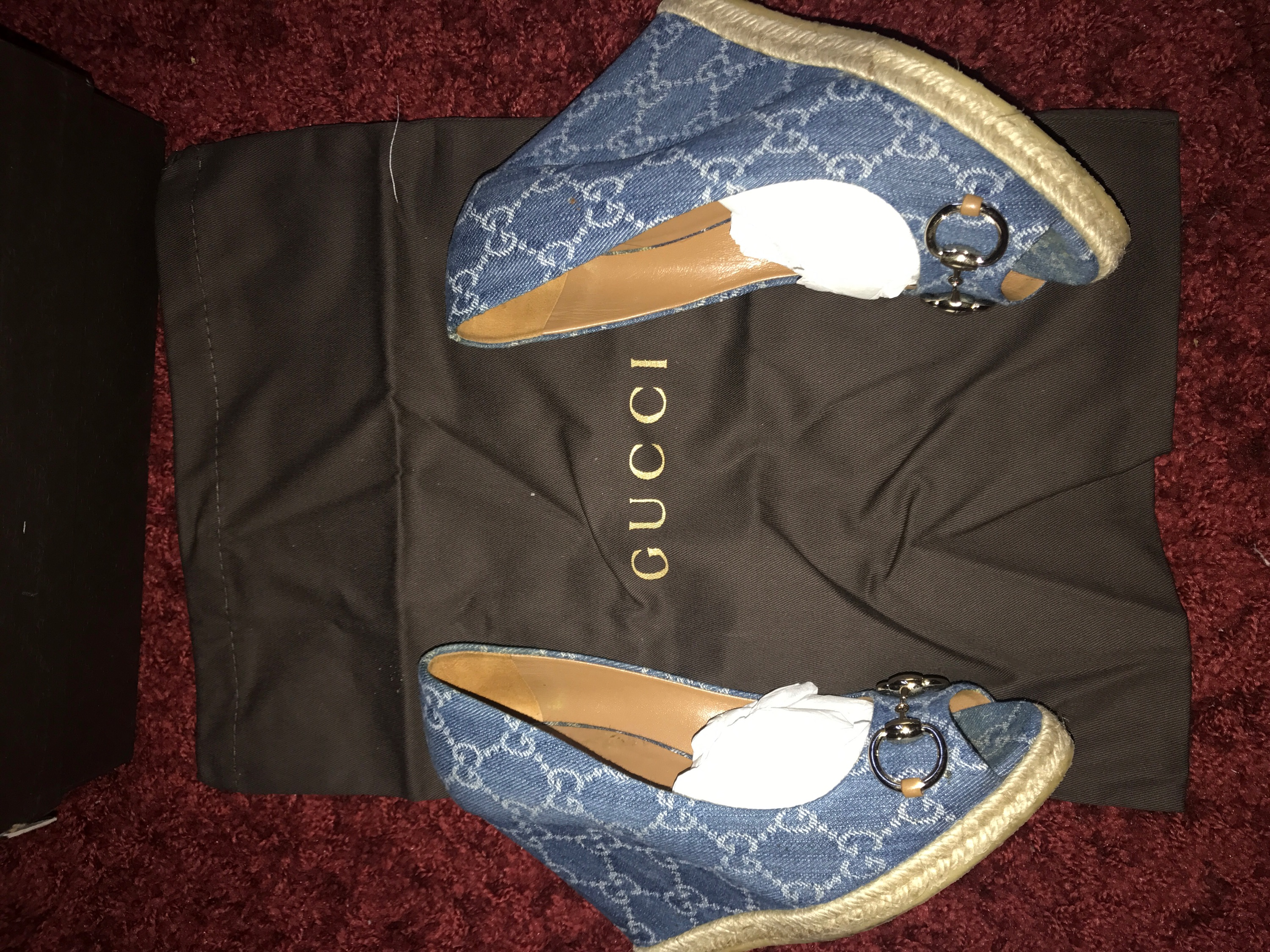 1f45eb75ef7 Gucci  Denim Espadrille Wedge Heel on Storenvy