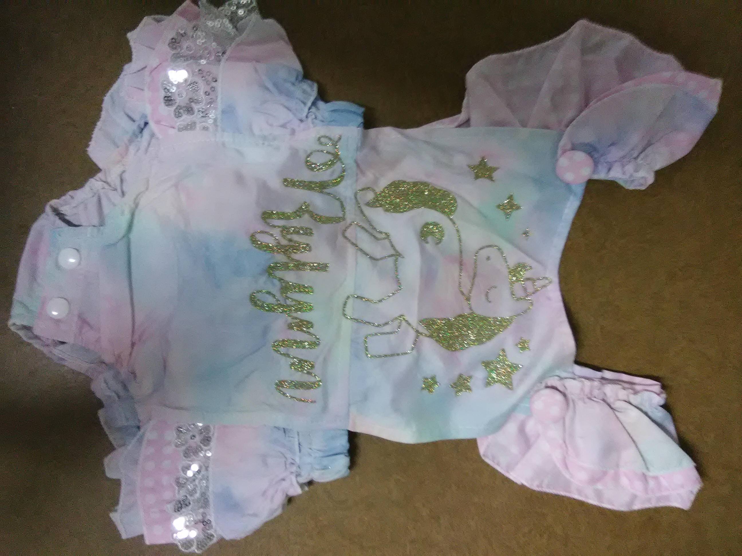 25b4ef113ef Glitter Unicorn baby romper