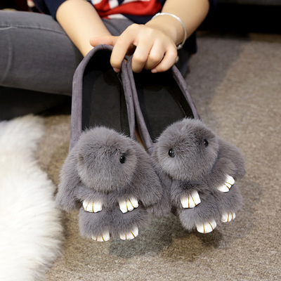 Autumn and winter 2017 rabbit plush shoes flat shoes