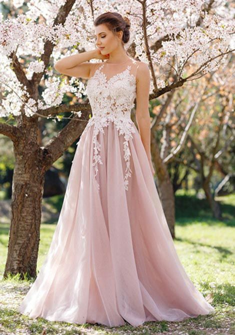 07c6259203 A Line Pink Long Tulle Prom Dresses with White Applique