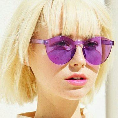 55974e905c9 Rimless round sunglasses transparent vintage one piece design sun glasses  for women