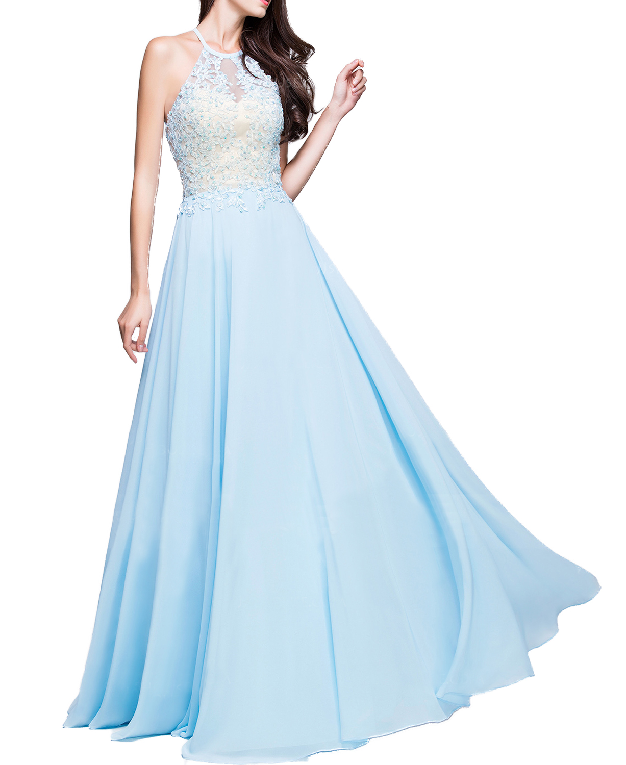 W157 Halter New Fashion Light Blue Evening Gowns,Chamring Lady Prom ...
