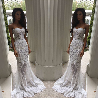 Mermaid Style Wedding Dress.Sweetheart White Mermaid Wedding Dress With Appliques