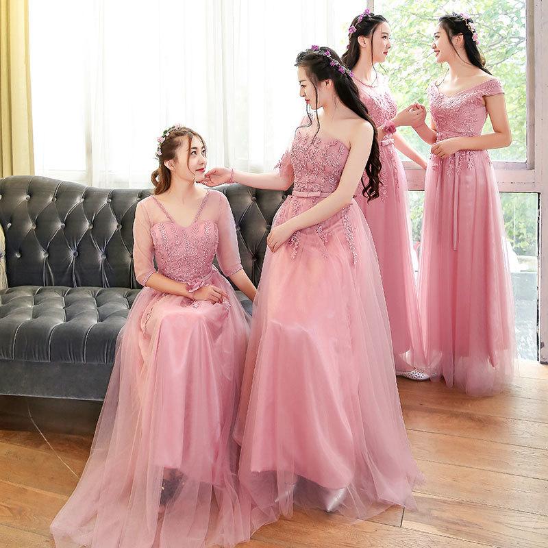 F202 Bridesmaid Dresses Long Design Pink Color Mauve Slit Neckline