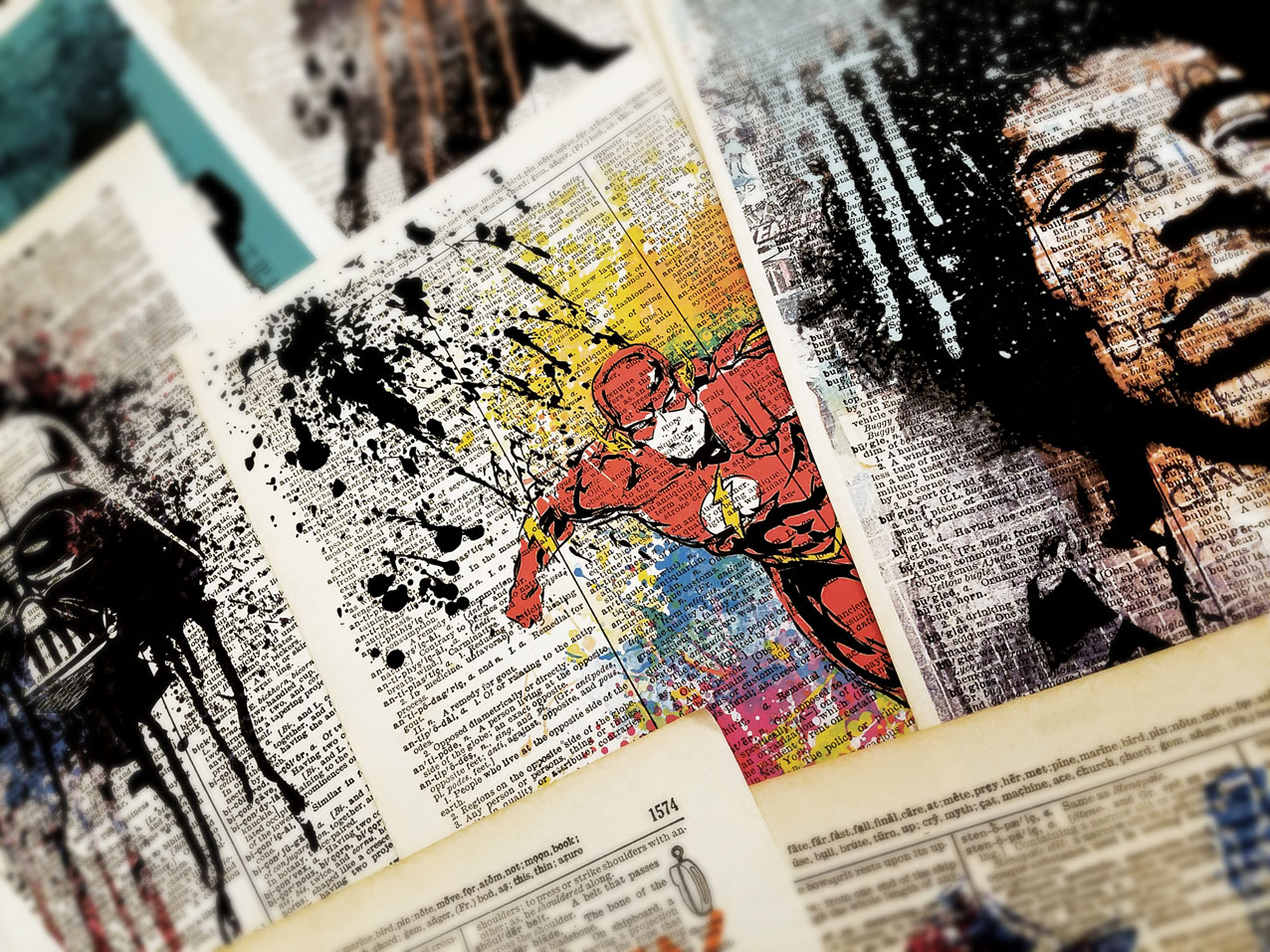 Art print on Dictionary page SUPERHEROES POP culture poster00424
