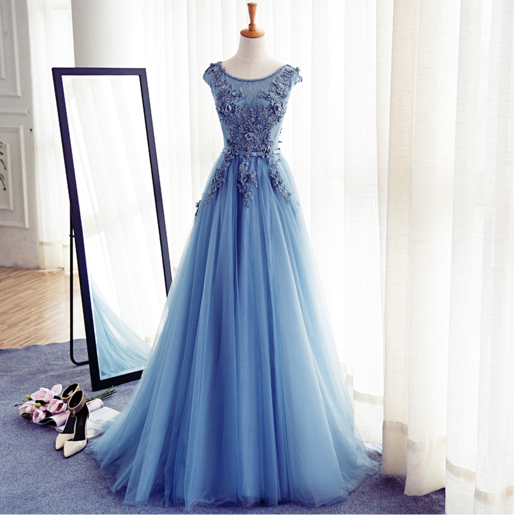 a8c59f415789 Blue Cap Sleeve Lace Evening Prom Dresses, Long Party Prom Dress ...