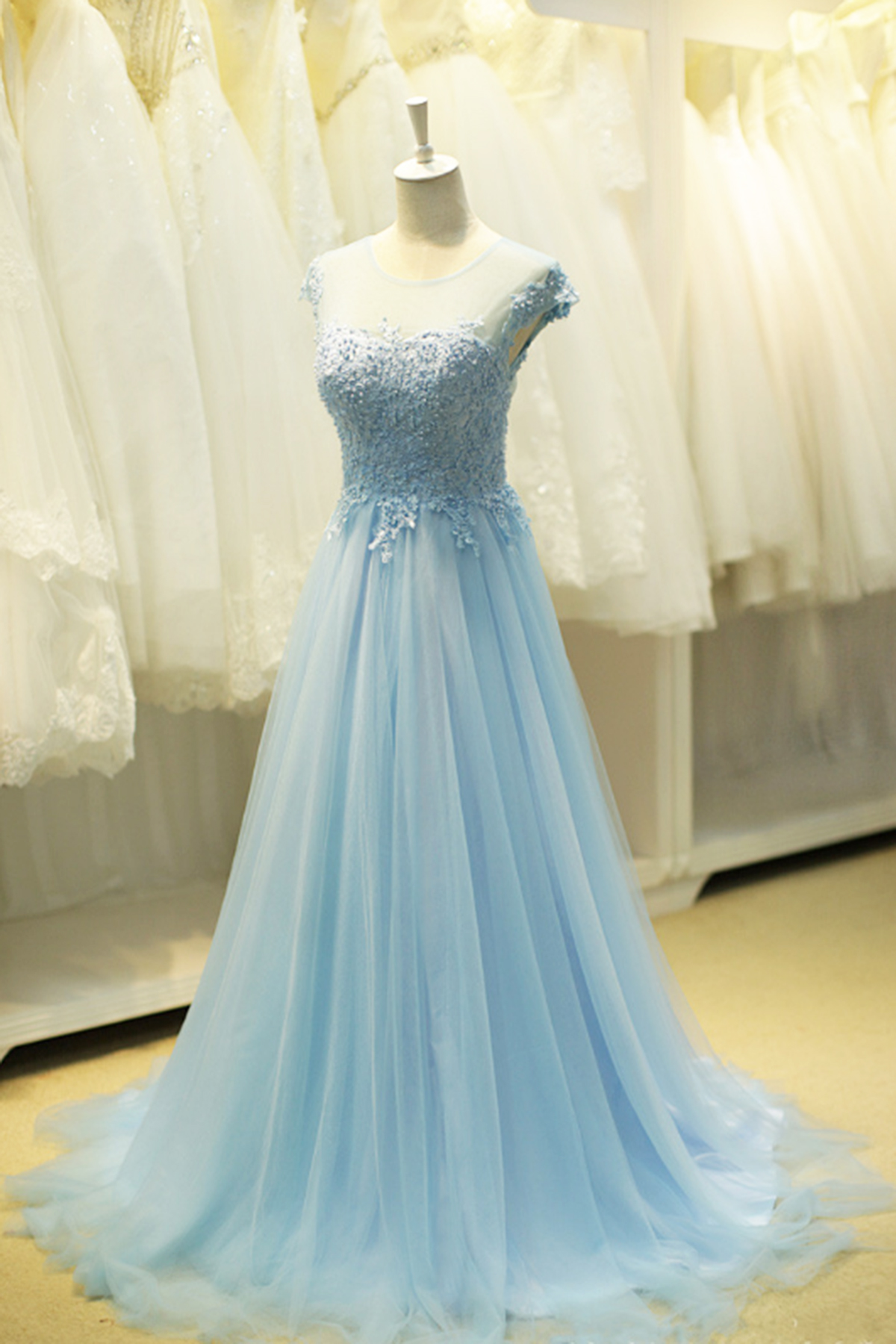 7e33da291d80e Cute blue tulle round neckline beaded sweet16 prom dress with cap sleeves