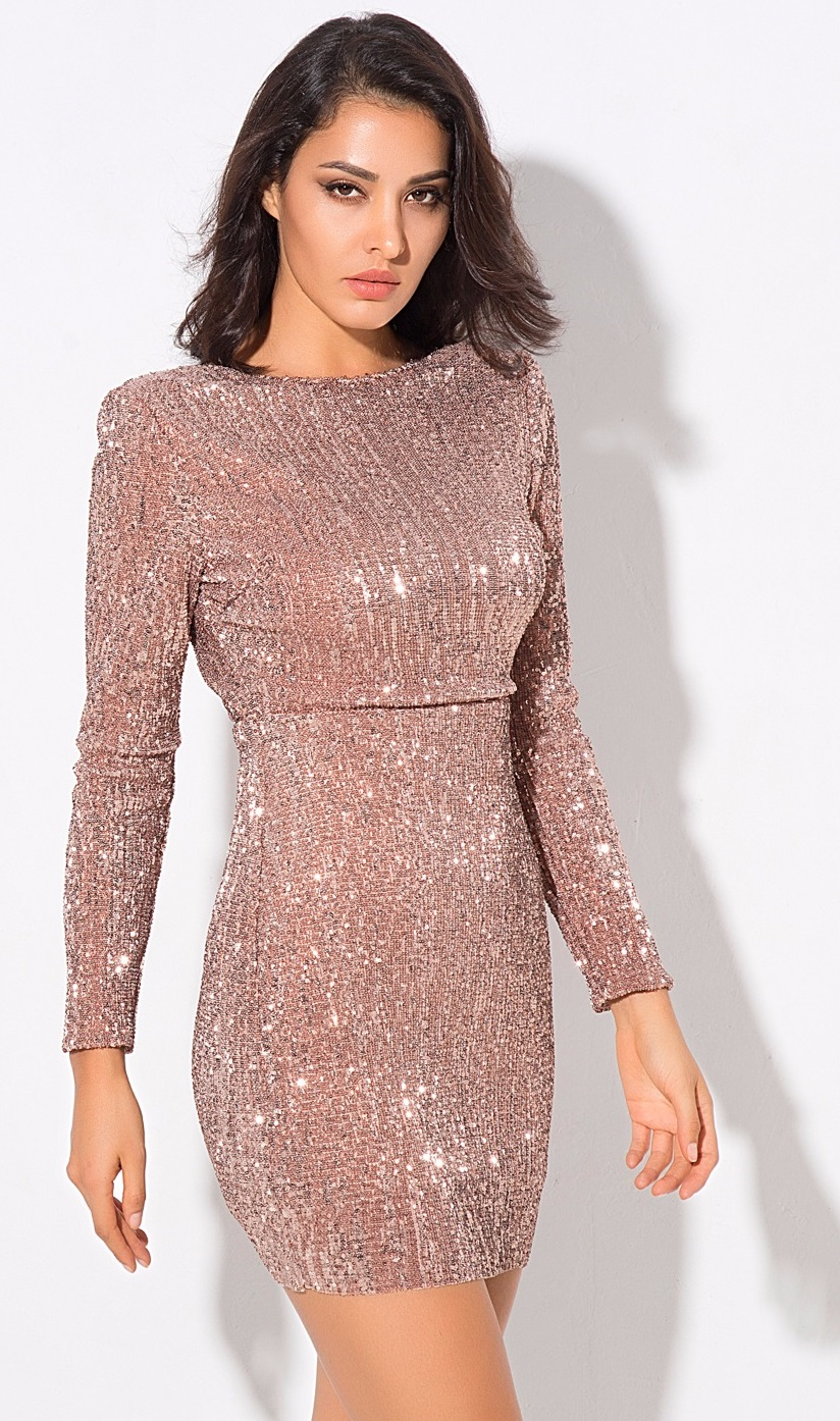 7c9406ca4c60f Sequin Champagne Party Dress