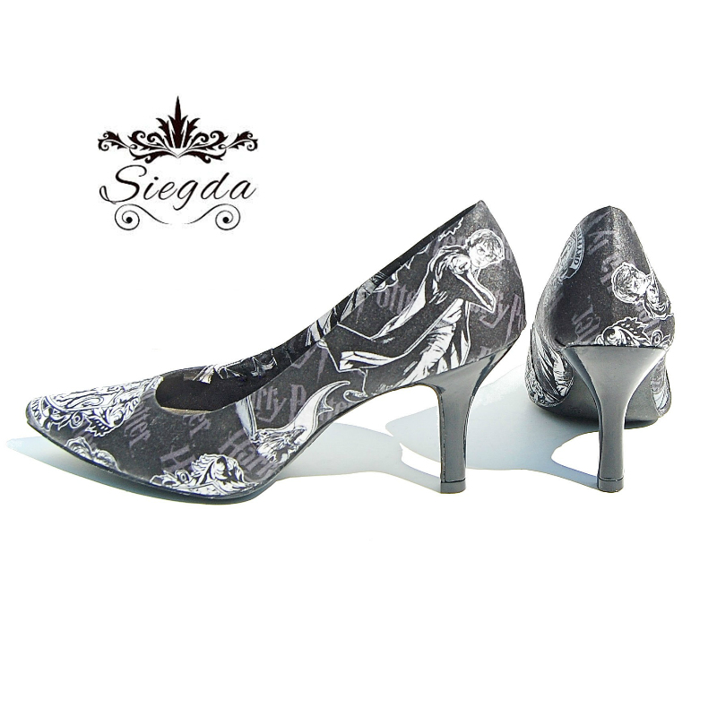 132d307841fa Harry Potter Black and White Pointed Toe 3 Inch Heels · Siegda ...
