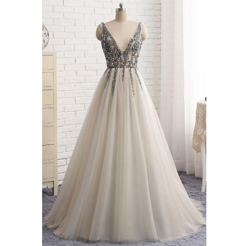 64391c705d4 Silver V Neck Sleeveless A Line Tulle Prom Dress