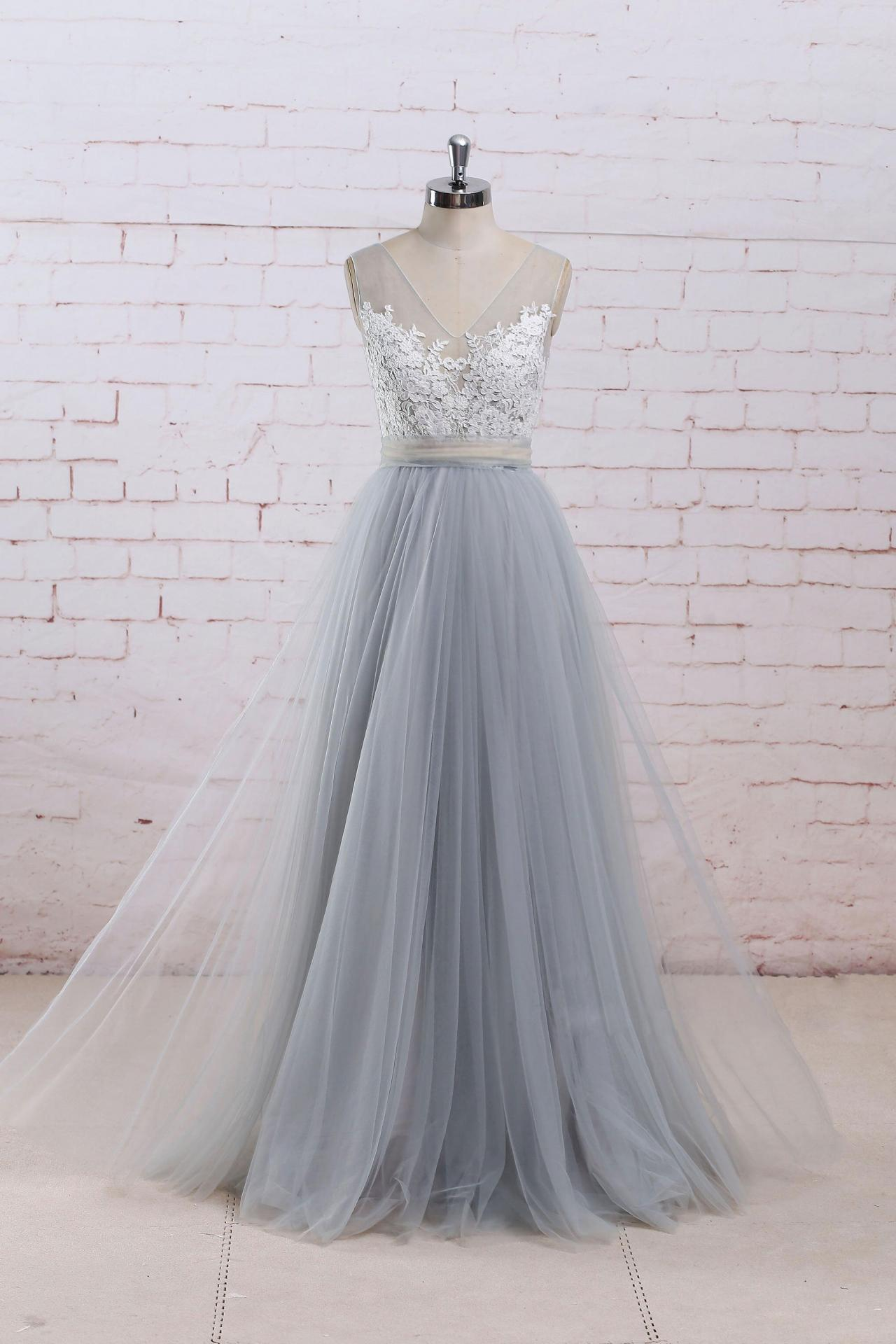 Grey Tulle Long Prom Dresses, Grey Formal Gowns, Wedding Dresses ...