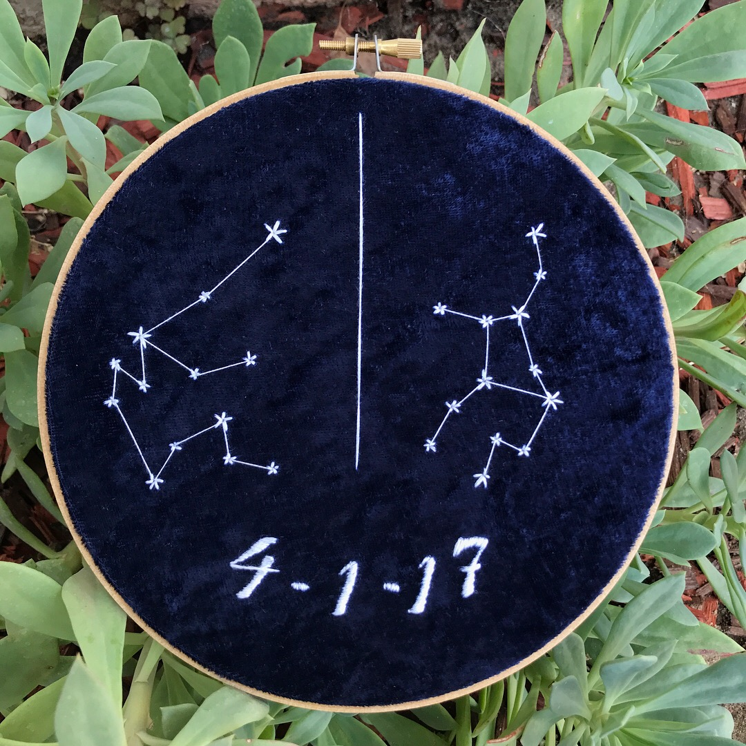 CUSTOM Astrology Signs w/ Date on Blue Velvet from Marissa Sews Hand  Embroidery
