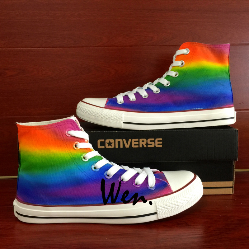 Rainbow Color Hand Painted Shoes