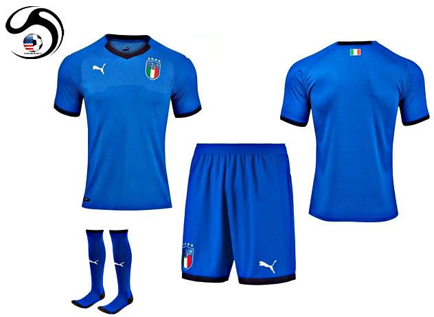 0e79dde01996 Italy Home Puma 2018-19 Football Shirt+Shorts+ (Kids) on Storenvy