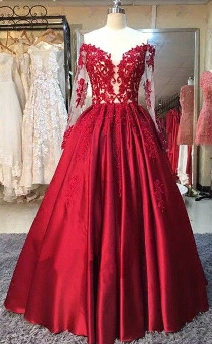 831b9b18e44 Red Puffy Prom Dresses Off-the-Shoulder Long Sleeves Lace Appliques ...