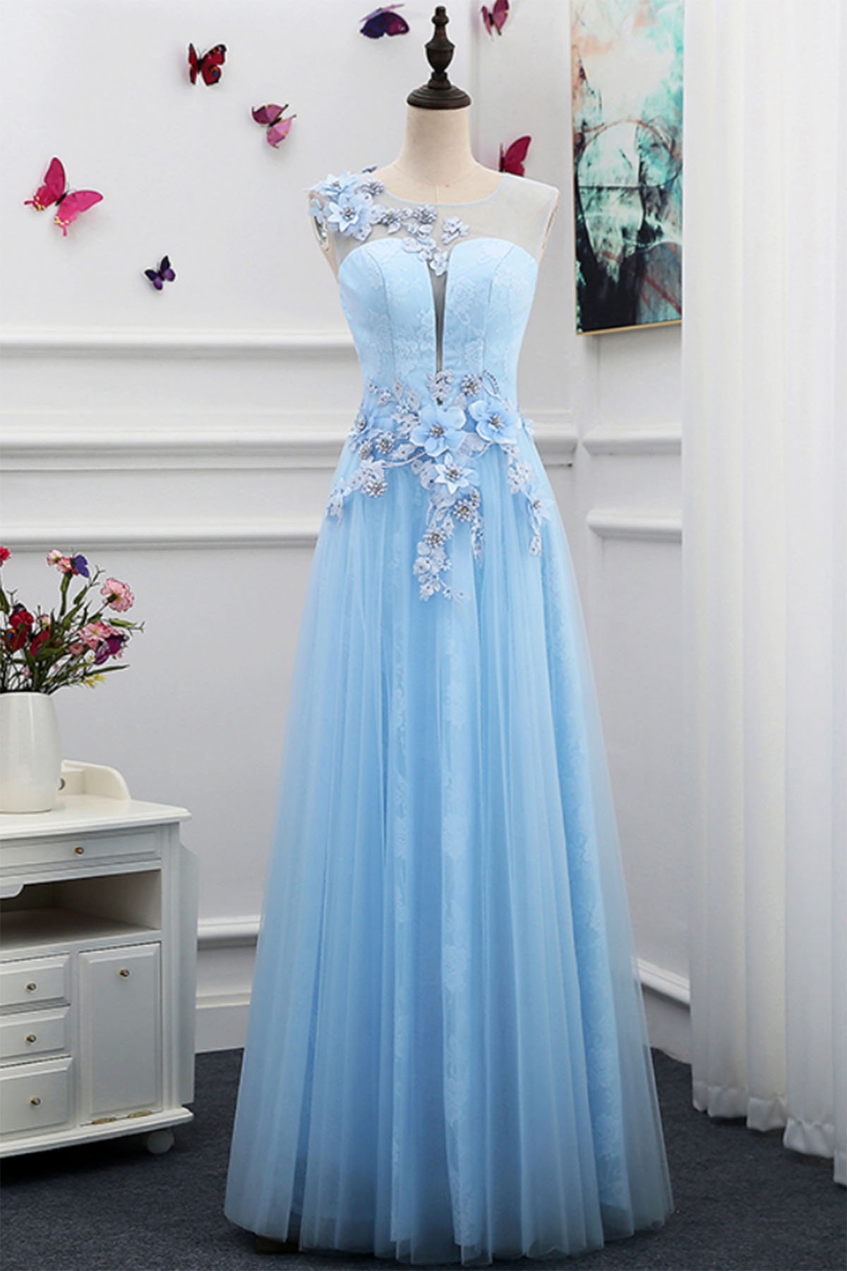20f440bce3 Unique light blue tulle floor length 3D flower halter formal prom dresses