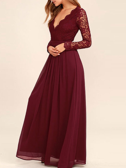 Lace Bodice Burgundy Chiffon Bridesmaid Dresses Simple