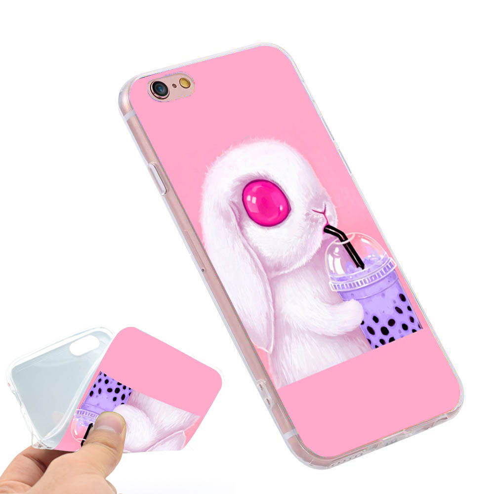 official photos 5b728 5aefc Bunny Loves Bubble Tea Print Phone Case Cover for iPhone X 5S 6 6S 7 8 plus  #SJK9000010TM from DIY iphone case