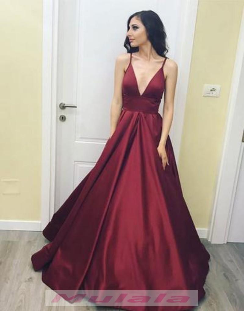 Burgundy Ball Gown Prom Dresses 2018 V Neck Formal Evening Dress ...