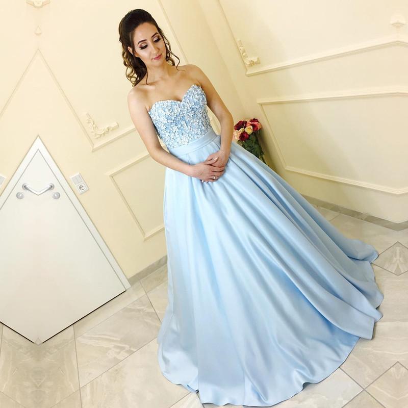 5b13e82e Charming A-Line Sweetheart Light Blue Long Prom/Evening Dress With Appliques