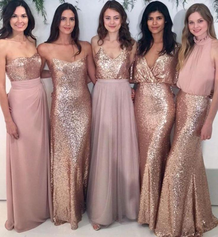 e82da4f1831 Custom Sparkly Mismatched Sequin Long Bridesmaid Dresses