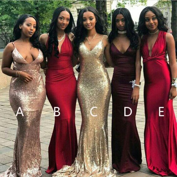 2e09ec2a0d Affordable Mismatched Mermaid Long Bridesmaid Dresses
