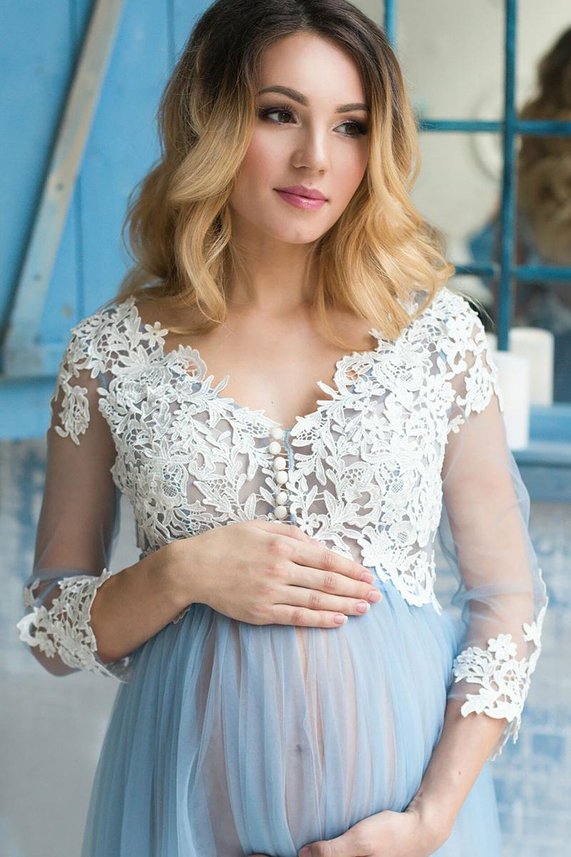c7da91d1d86 Romantic A-Line V-Neck Pink Tulle Long Pregnant Prom Dress with Lace ...
