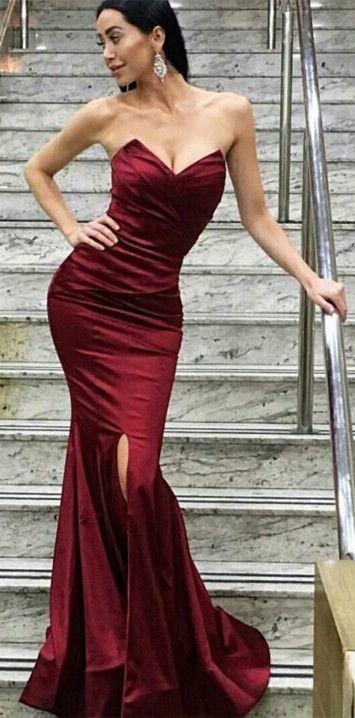 5bef9e48ce1 sexy dark red long evening dress