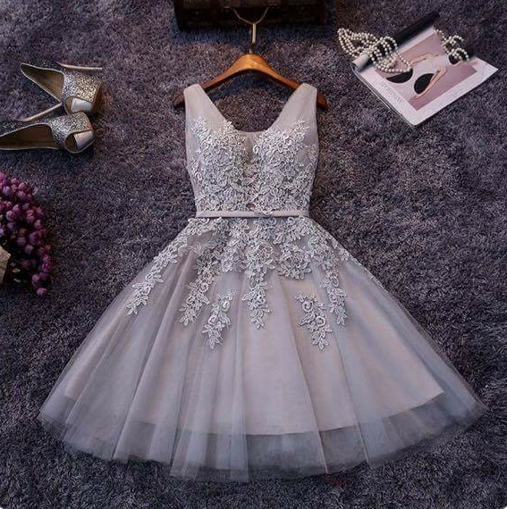 b1bbe09639c Cute A-line grey lace short prom dress