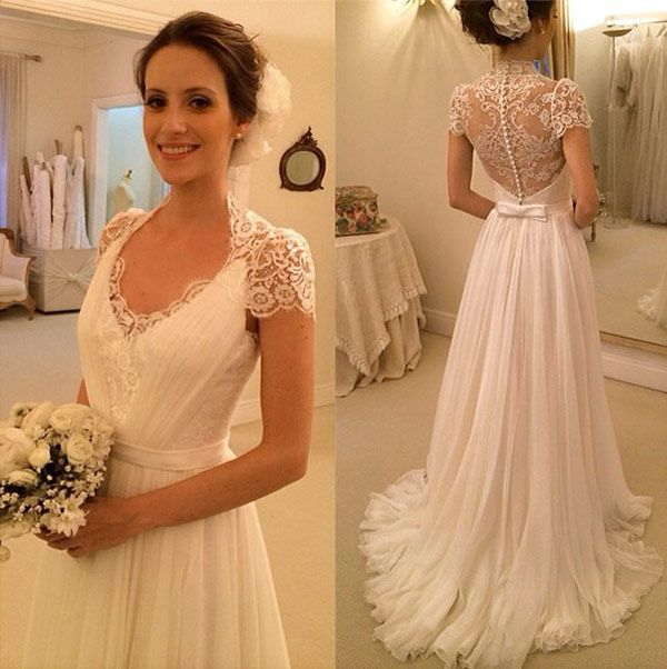 fedfb9eeefb A-Line Cap Sleeve Wedding Dress
