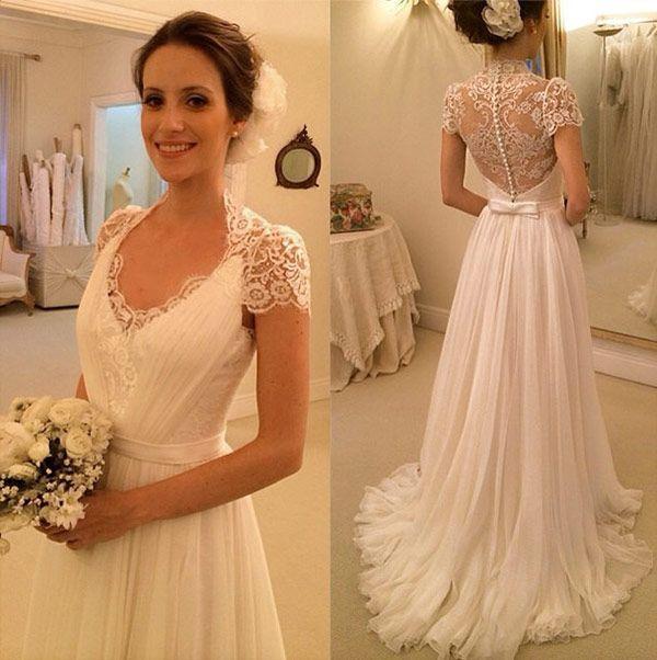 A Line Cap Sleeve Wedding Dresslace Wedding Dressbeach Wedding
