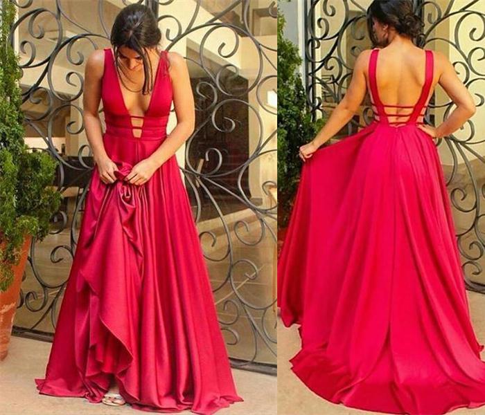 Charming Long Red V-neck Prom Dresses 374eff49c