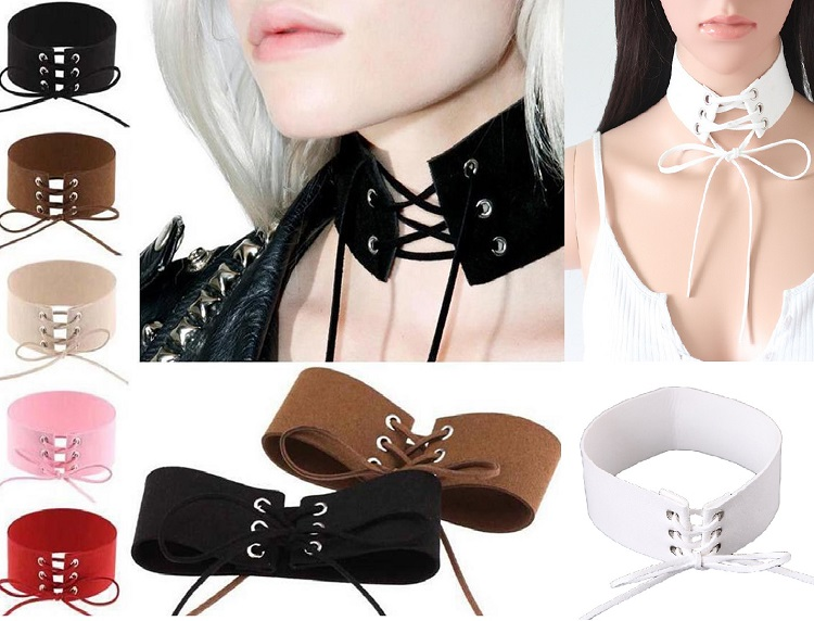 3f82a34375 Sexy Gothic Suede Velvet Leather Wide Lace Up Tie Corset Choker ...