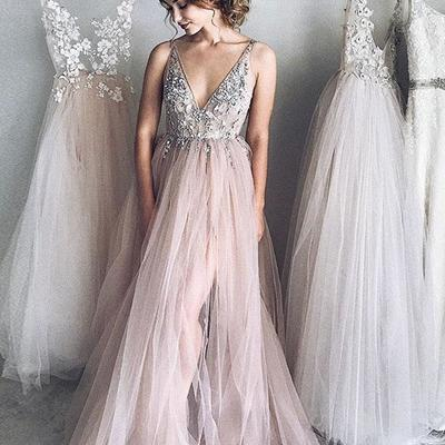 ddbe9ae717b Sexy a-line deep v-neck champagne tulle long prom evening dress with