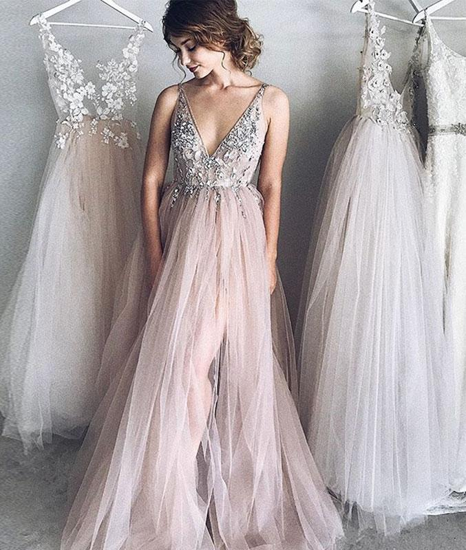f3f5c55df22 Sexy A-Line Deep V-Neck Champagne Tulle Long Prom Evening Dress with  Appliques on Storenvy
