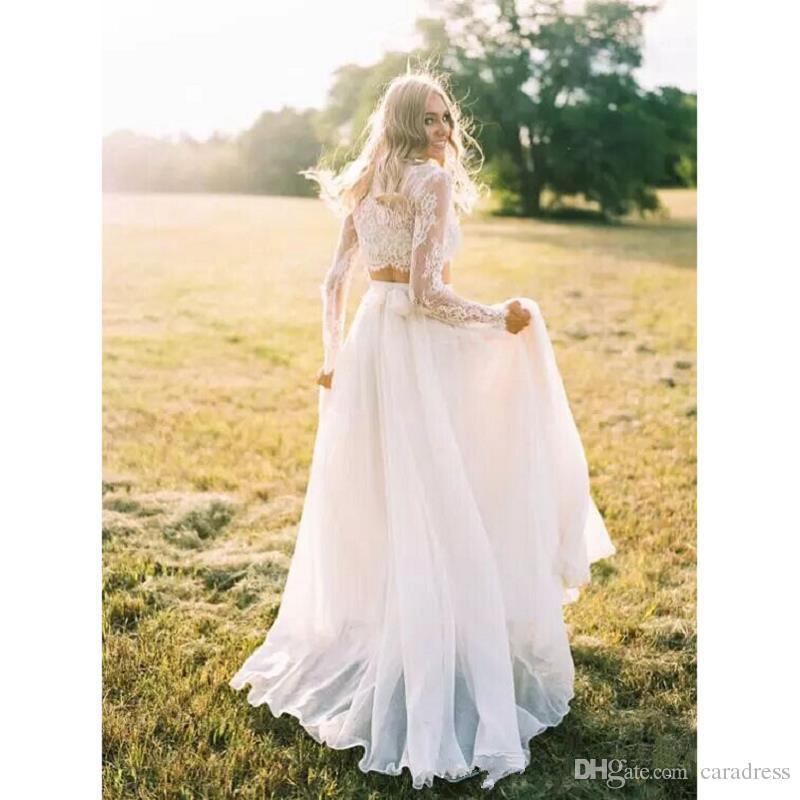 Elegant Two Pieces Lace Wedding Dresses Plus Size Bohemian Long