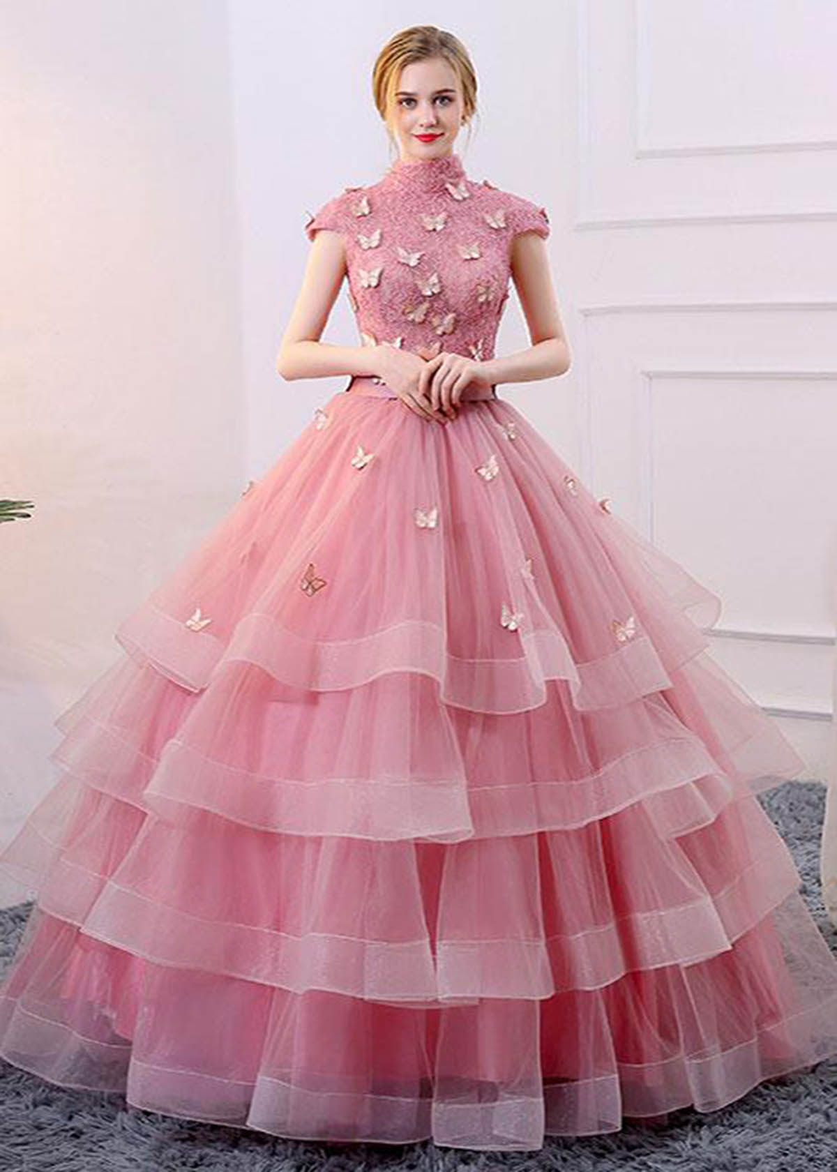 2097e3c7fa9 Spring pink tulle A-line long winter formal prom dress