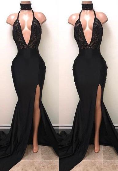 2349367294eeb Black Plunging V Neck Halter Prom Dresses 2018 Sexy Side Split Mermaid Evening  Dress Backless Lace