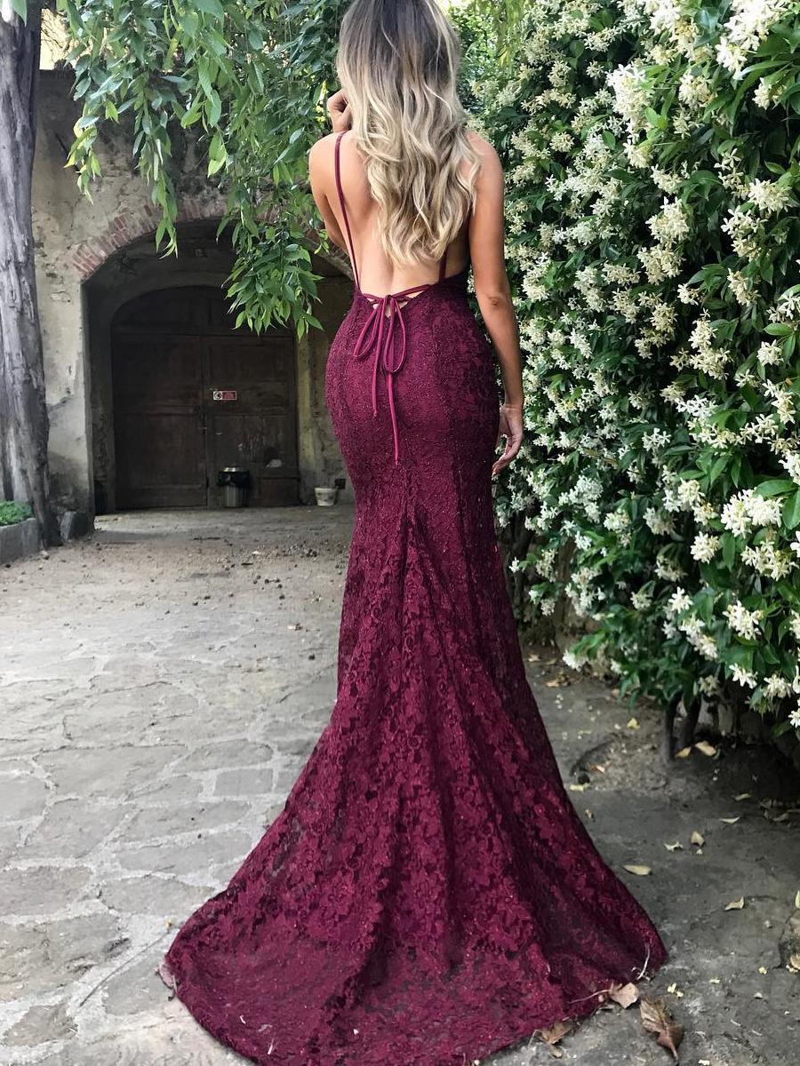 523075c35a Gorgeous V Neck Burgundy Mermaid Long Prom Dress Graduation Dress on  Storenvy