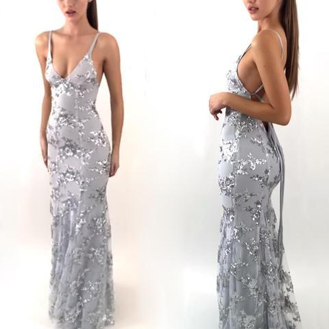 best quality exquisite design 2018 shoes Sexy Backless Gray Sequin Lace Mermaid Long Evening Prom Dresses, 13008  sold by OkBridal