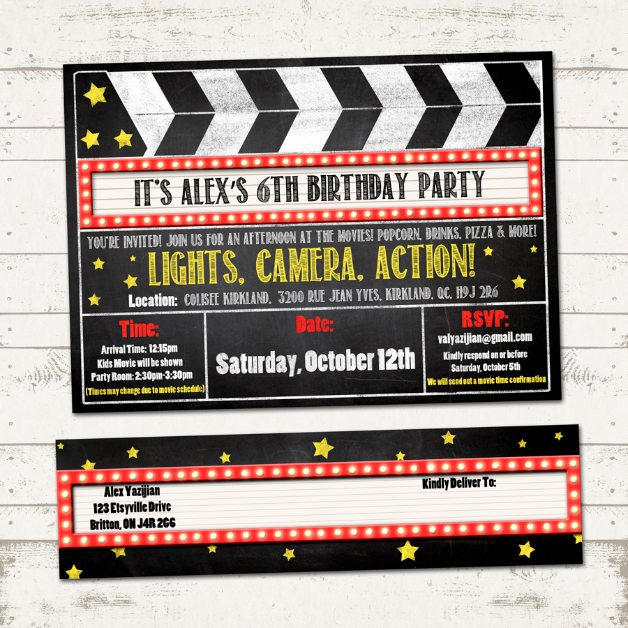 movie birthday party invitation with wrap around address labels