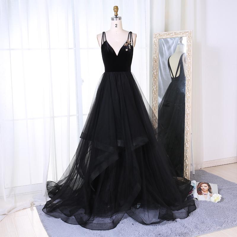 New Arrival A-Line V-Neck Black Velvet Up Long Prom/Evening Dress on ...