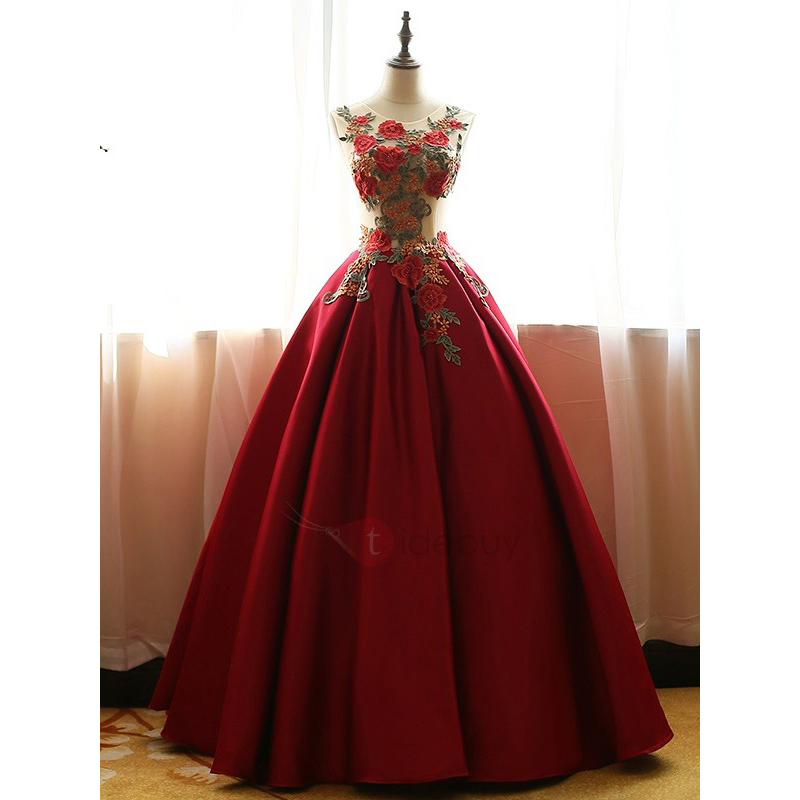 Red Quinceanera Dresses,Satin Prom Dresses With Flowers,Ball Gown ...