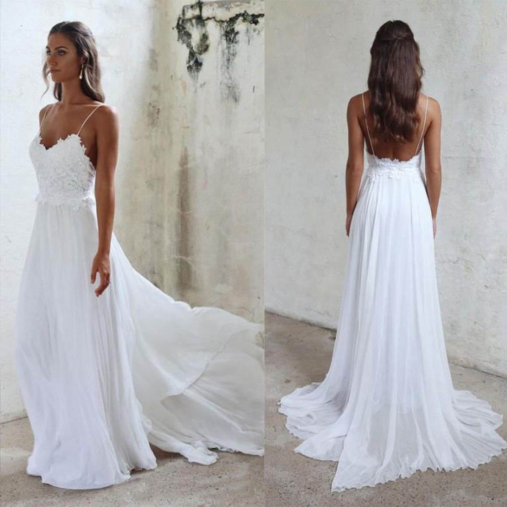 top brands finest fabrics fashion style Beautiful Lace A Line Spaghetti Straps Wedding Dresses,Beach/Coast Wedding  Dresses,Sexy White Wedding Dress WD857