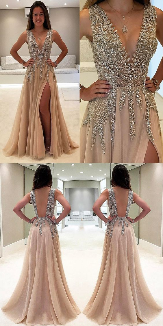c48480037cb Champagne Beaded Sexy Party prom dress new style fashion evening gowns for  teens girls