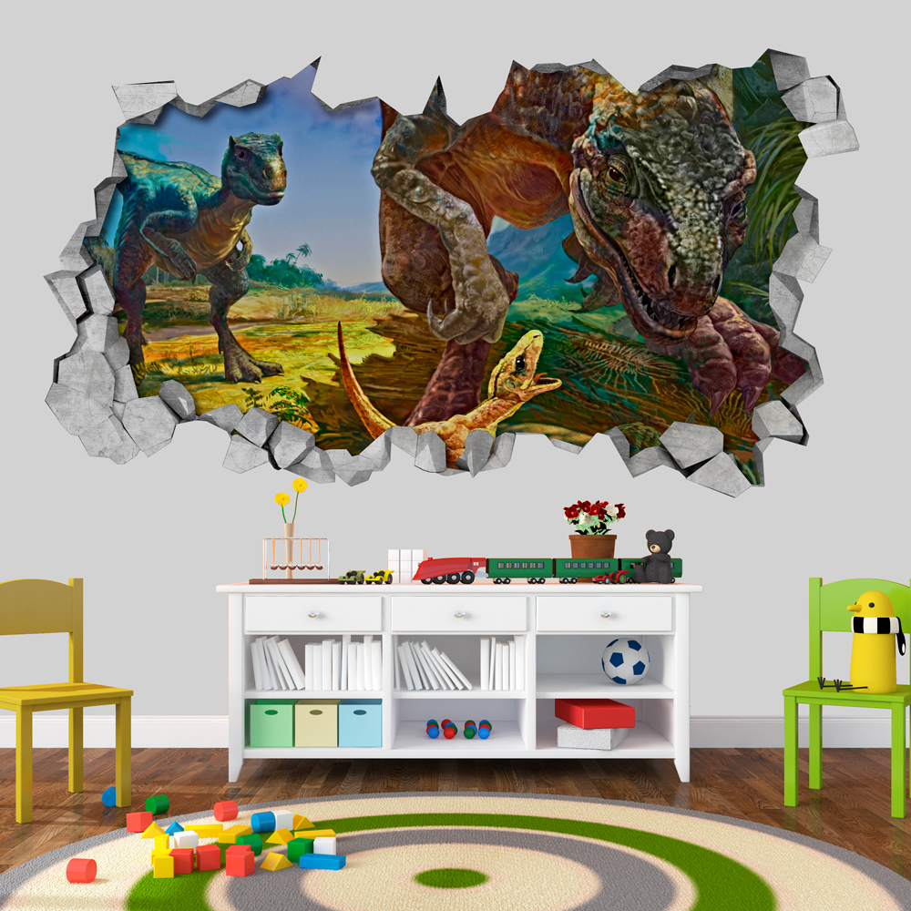 Velociraptor Dinosaur Family 3d Wallpaper 3d Wallpaper 3d Wall Decals 3d Printed 3d Art Wall Sticker Wall Decal Sold By
