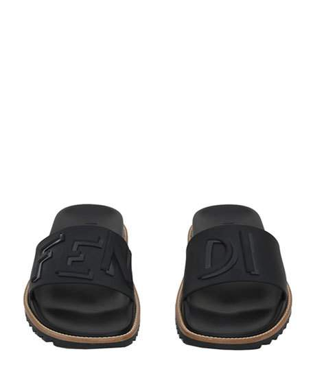 60ad2c8ebf61 Fendi Rubber Slide Sandals w  Raised Logo Detail · TroyKicksShop ...