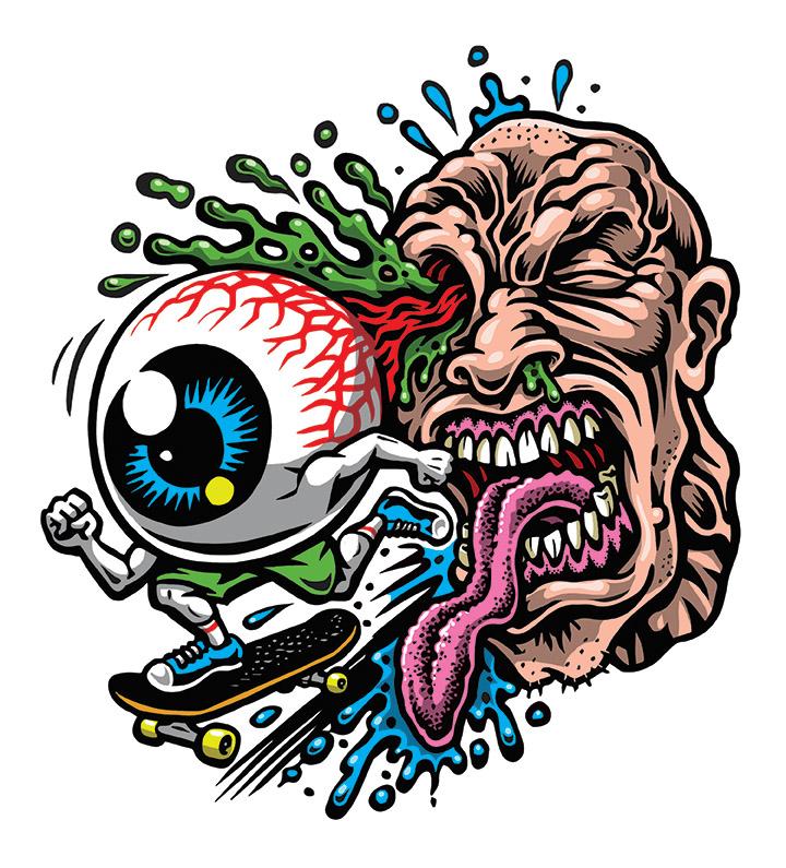 Eye skate sticker full color silkscreened clear vinyl