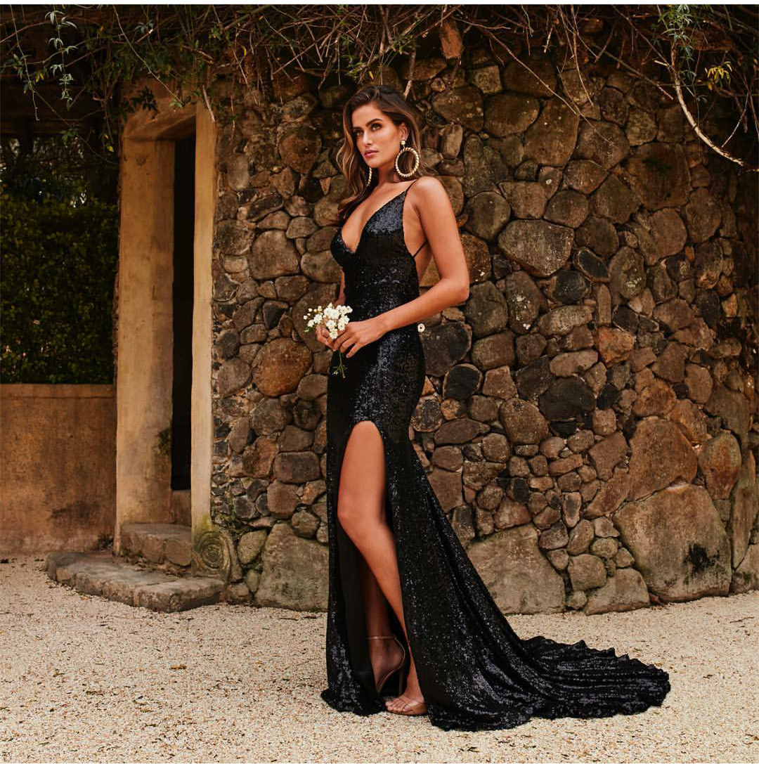 19751b24821a5 Sexy Mermaid Deep V Neck Backless Slit Long Black Sequin Prom Evening Dress  on Storenvy