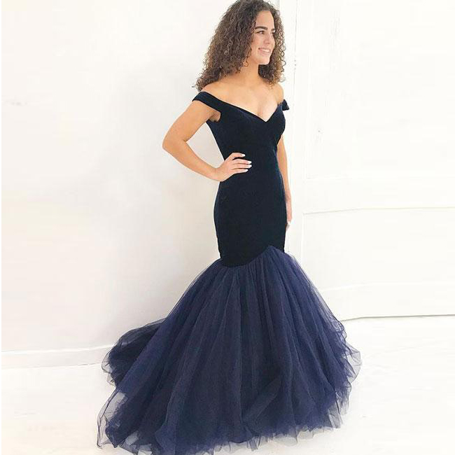 866dc29703bf9 Navy Blue Mermaid Prom Dress Off The Shoulder Formal Evening Gown Tulle  Skirt